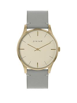 Jigsaw Jigsaw Jigsaw Champagne And Gold Detail Dial Grey Leather Strap  ... Picture
