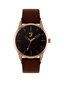 Farah Farah Black And Gold Detail Dial Brown Leather Strap Mens Watch