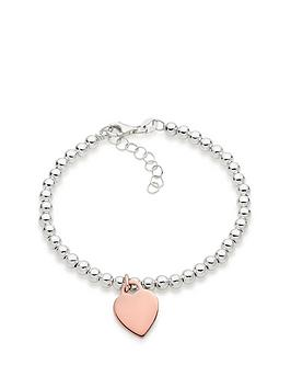 Beaverbrooks Beaverbrooks Silver And Rose Gold Plated Heart Ball Bracelet Picture