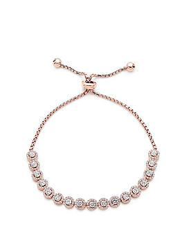 Beaverbrooks Beaverbrooks Silver Rose Gold Plated Cubic Zirconia Halo  ... Picture