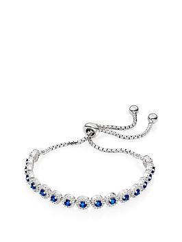 Beaverbrooks Beaverbrooks Silver Blue Cubic Zirconia Halo Slider Bracelet Picture