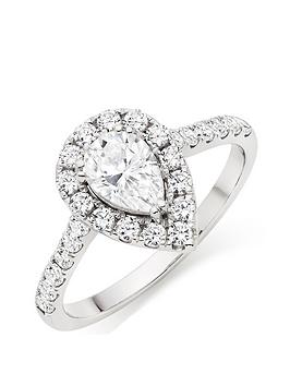 Beaverbrooks Beaverbrooks 9Ct White Gold Cubic Zirconia Pear Shaped Halo  ... Picture