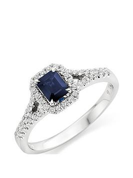 Beaverbrooks Beaverbrooks 18Ct White Gold Diamond And Sapphire Cluster Ring Picture