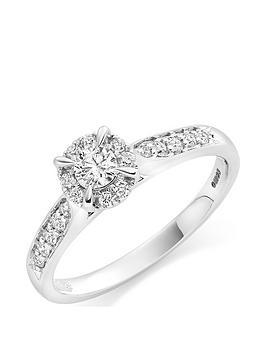 Beaverbrooks Beaverbrooks 18Ct White Gold Diamond Halo Ring Picture
