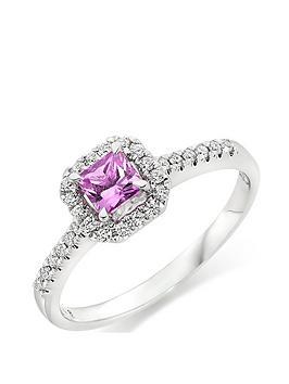Beaverbrooks Beaverbrooks 18Ct White Gold Diamond And Pink Sapphire Ring Picture
