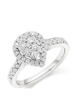 Beaverbrooks Beaverbrooks Platinum Diamond Pear Shaped Cluster Halo Ring Picture