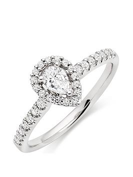 Beaverbrooks Beaverbrooks 18Ct White Gold Diamond Pear Shaped Halo Ring Picture