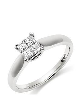 Beaverbrooks Beaverbrooks 18Ct White Gold Diamond Cluster Ring Picture