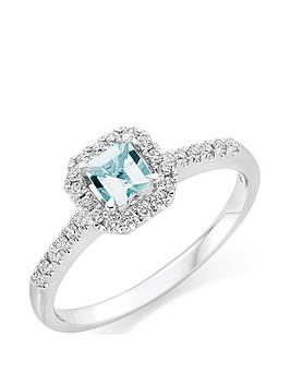 Beaverbrooks Beaverbrooks 18Ct White Gold Diamond And Aquamarine Ring Picture