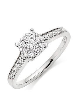Beaverbrooks Beaverbrooks 9Ct White Gold Diamond Cluster Ring Picture