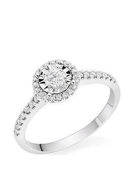 Beaverbrooks Beaverbrooks 9Ct White Gold Diamond Halo Ring Picture