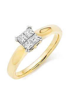 beaverbrooks-18ct-gold-diamond-princess-cut-cluster-ring