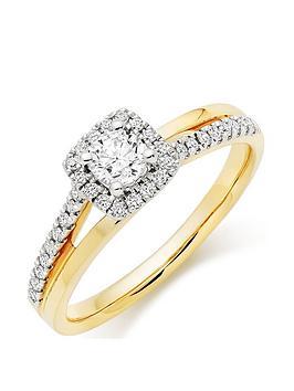 Beaverbrooks Beaverbrooks 18Ct Gold Diamond Halo Ring Picture