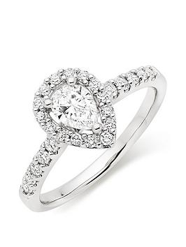 Beaverbrooks Beaverbrooks Platinum Diamond Pear Shaped Halo Ring Picture