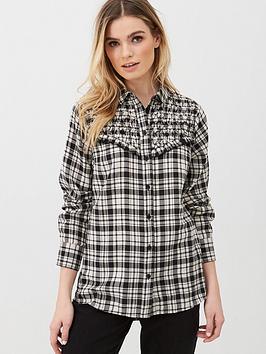 V by Very V By Very Checked Shirt - Black Picture
