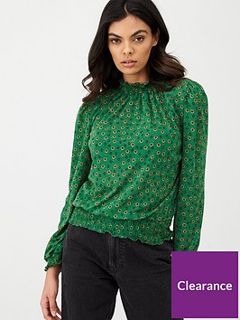 river-island-long-sleeve-high-neck-shirred-top--green-print