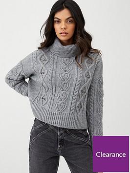 river-island-cable-knit-embellished-jumper-grey