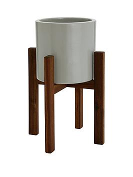 Very Grey Ceramic Planter On Wooden Stand Picture