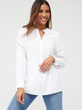 V by Very V By Very Essential Ladder Trim Dropped Hem Shirt - Ivory Picture
