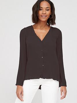 V by Very V By Very Pleated Button Through Blouse - Black Picture