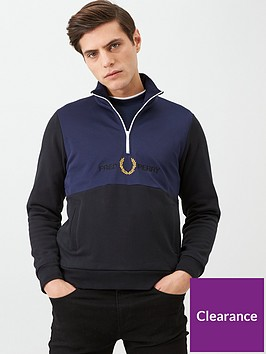 fred-perry-embroidered-half-zip-track-jacket-black