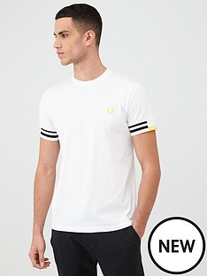 fred-perry-abstract-cuff-t-shirt-white