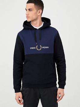 fred-perry-embroidered-panel-hoodie-black