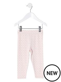 river-island-mini-mini-girls-ri-monogram-leggings-pink