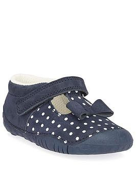 Start-Rite Start-Rite Baby Girl Wiggle Shoes - Navy Polka Dot Picture