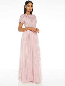 Quiz Quiz Hand Embellished Sequin Round Neck Tulle Bridesmaid Maxi Dress -  ... Picture
