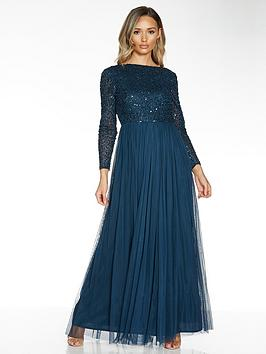 Quiz Quiz Hand Embellished Sequin Long Sleeve Tulle Bridesmaid Maxi Dress  ... Picture