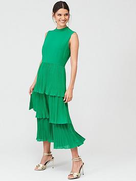 Warehouse Warehouse Warehouse Random Drop Print Micro Pleat Dress Picture