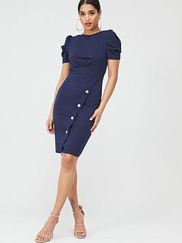 Quiz Quiz Crepe Puff Sleeve Midi Dress - Navy Picture