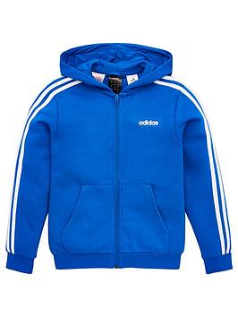 Adidas   Childrens 3 Stripe Full Zip Hoodie - Blue