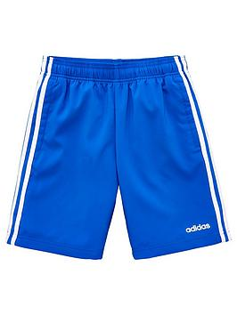Adidas   Childrens 3 Stripe Shorts - Blue