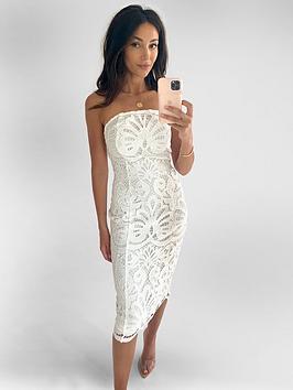 Michelle Keegan Michelle Keegan Premium Lace Bandeau Midi Dress - Ivory Picture