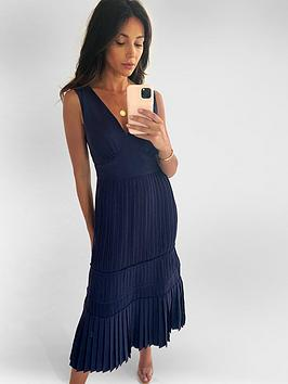 Michelle Keegan Michelle Keegan Pleated Pinafore Midi Dress - Navy Picture