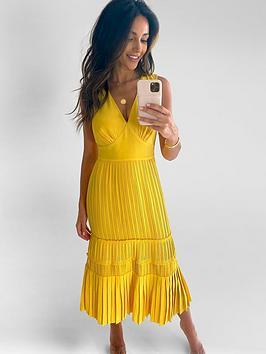 Michelle Keegan Michelle Keegan Pleated Pinafore Midi Dress - Yellow Picture