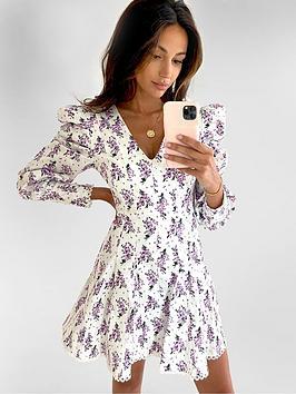 Michelle Keegan Michelle Keegan Premium Lace Trim Skater Dress - Floral  ... Picture