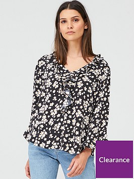 wallis-daisy-ruffle-sleeve-top-multi