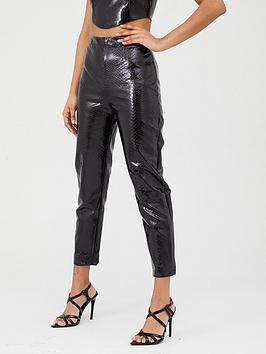 In The Style In The Style In The Style Croc Pu Trousers - Black Picture