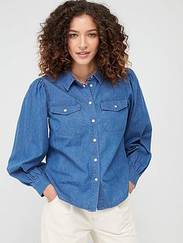 Warehouse Warehouse Puff Sleeve Shirt - Blue Picture