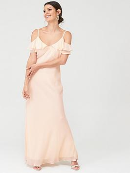 Warehouse Warehouse Warehouse Cold Shoulder Button Maxi Dress Picture