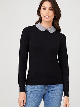 Warehouse Warehouse Gingham Frill Collar Jumper - Black Picture