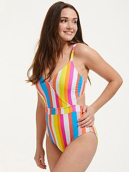 figleaves-malibu-stripe-underwired-cut-out-belted-tummy-control-swimsuit-multi