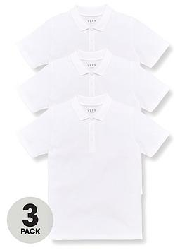 V by Very V By Very Unisex 3 Pack Teflon Coated School Polo Tops Picture
