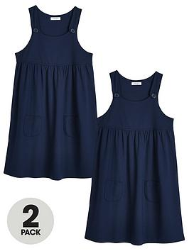 V by Very V By Very Girls 2 Pack Jersey School Pinafore - Navy Picture