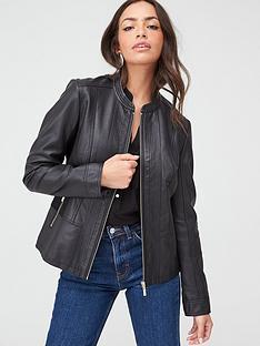 wallis-ponte-side-panel-faux-leather-jacket-black