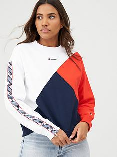 champion-crew-neck-patchwork-sweatshirt-whitenbsp