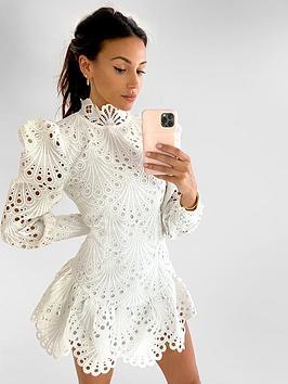 Michelle Keegan Michelle Keegan Premium High Neck Lace Dress - Ivory Picture